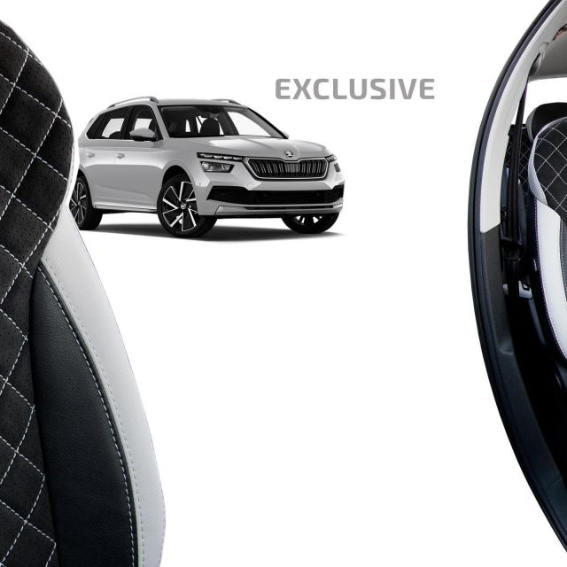 The products from the Exclusive collection are an ideal choice for drivers looking for luxury materials and want to define their own style.  #individualautodesign #skoda #kamiq #skodagram #skodafamily #skodafan #skodakamiq #carseatcover #autositzbezüge #üléshuzat #wecreatedesign #carinterior